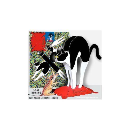 Carte postale à découper Chat domino